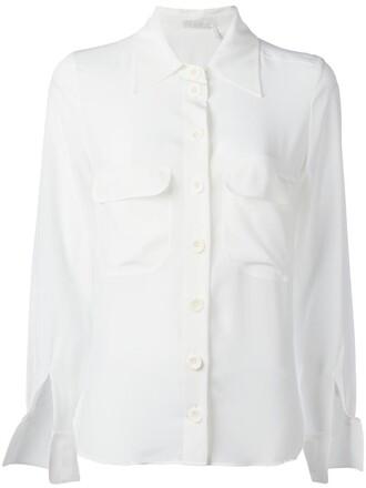 blouse women slit white silk top