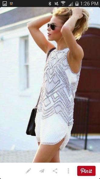 dress white dress elle magazine short dress sleeveless dress embellished