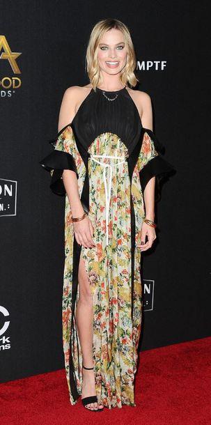 dress maxi dress slit dress margot robbie floral sandals