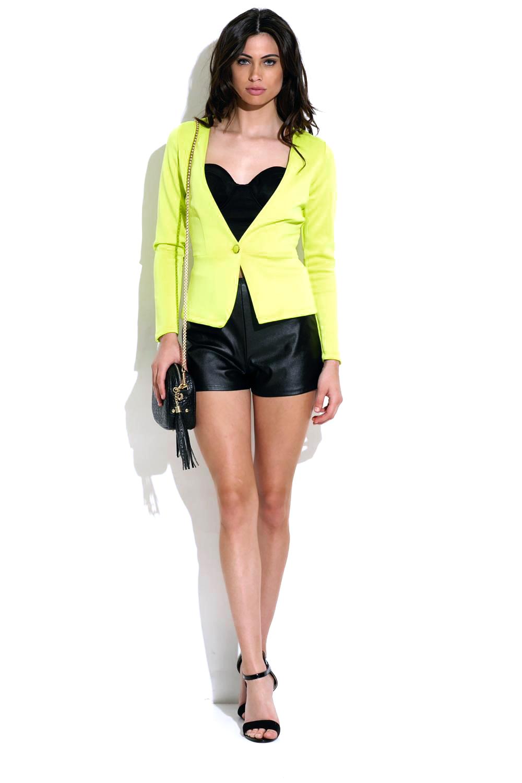 Neon green single button long sleeve fited scuba blazer jacket
