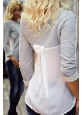 t-shirt grey crew neck long sleeve splicing t-shirt grey long sleeves crewneck bow bows jeans hair white white and grey fall outfits outfit clothes lovely cute love girl girly fashion style stylish winter outfits cozy slit grey t-shirt transparent cute outfits fall sweater side split