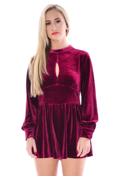 c0872aad708 Mfbar ouida velour playsuit wine ladies women long sleeve dress velvet long  sleeve romper jpg 407x610