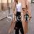 Khaki Lapel Pockets Coat -SheIn(Sheinside)