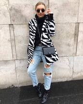 jeans,ripped jeans,straight jeans,high waisted jeans,belt,ankle boots,black boots,coat,zebra,crossbody bag,mini bag,sunglasses,turtleneck sweater,earrings