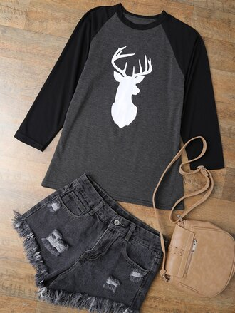 shirt baseball tee long sleeves deer casual trendy cool zaful
