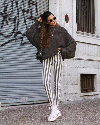 sweater tumblr knit knitted sweater grey sweater pants stripes striped pants white sneakers sneakers sunglasses