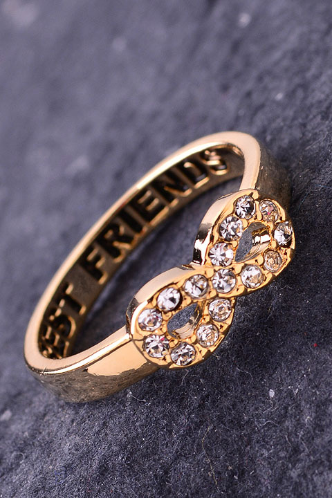 Best friends forever crystal infinity ring