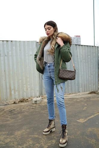 shoes boots bag jacket green jacket louis vuitton mini bag parka grey t-shirt t-shirt jeans denim blue jeans