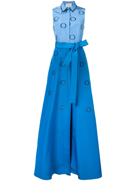 gown embroidered women blue silk dress