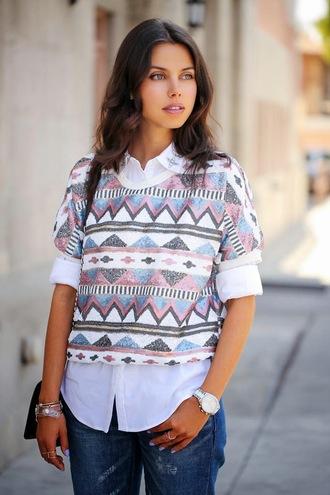 shirt sequin shirt sequins printed top white shirt viva luxury blogger denim blue jeans watch