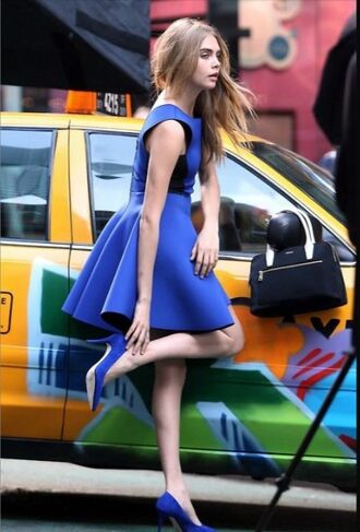 dress cara delevingne blue blue dress blue shoes