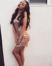 dress,silk dress,gold sequins