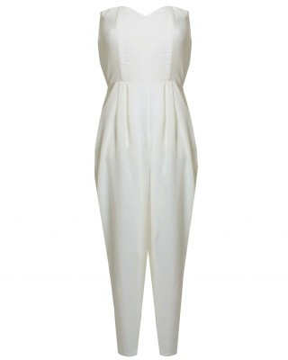 LOVE Cream Strapless Jumpsuit - In Love With Fashion