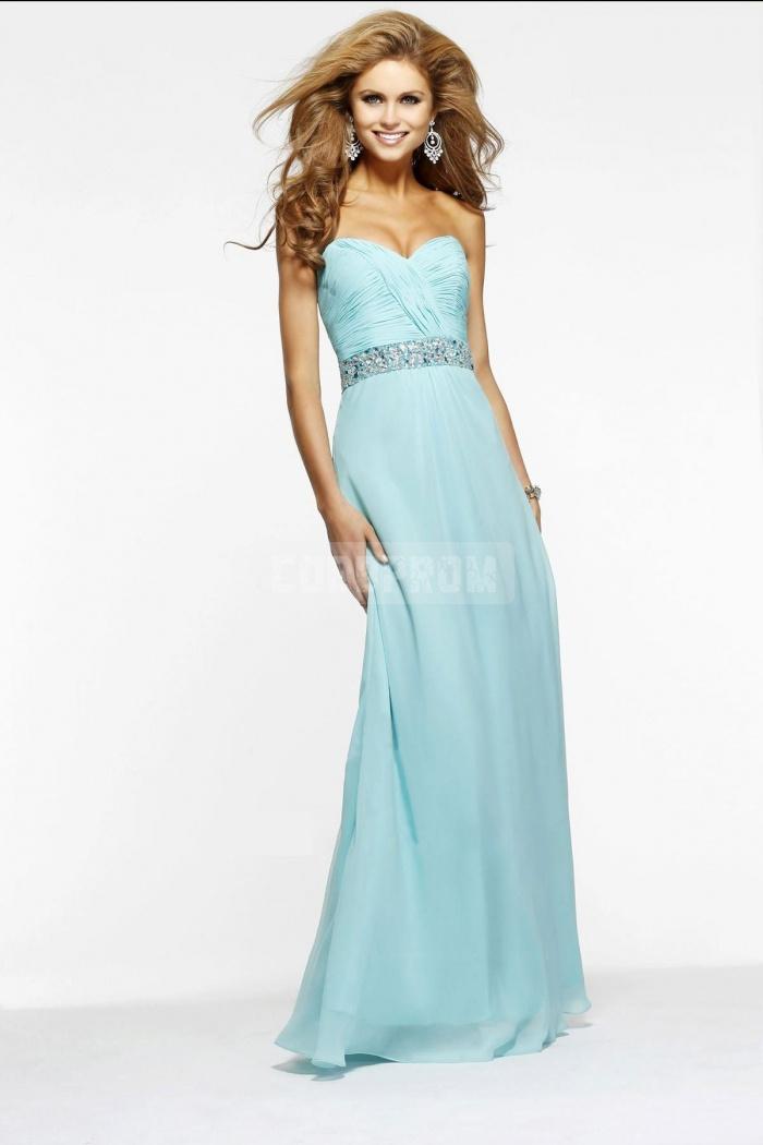 Chiffon column natural waist sweetheart bridesmaid dress