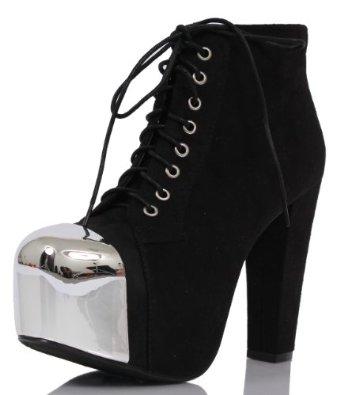 Amazon.com: Black Faux Suede Lace Up Mirror Cap Toe Platform Bootie Ankle Boots Yelp: Shoes