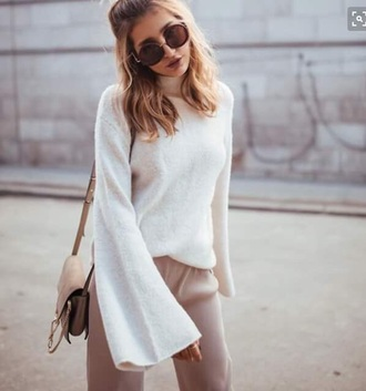 sunglasses brown rounded round sweater white soft flared sleeve top turtleneck sweater turtleneck
