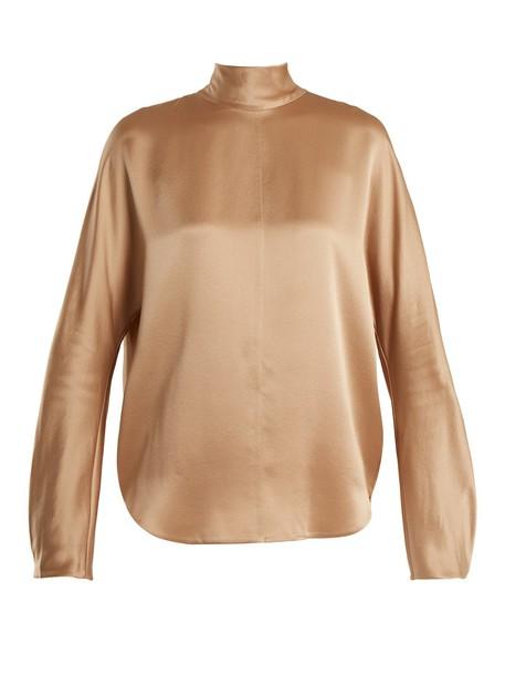 Vince blouse high silk camel top