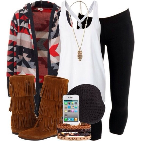 shoes fringes sweater tank top