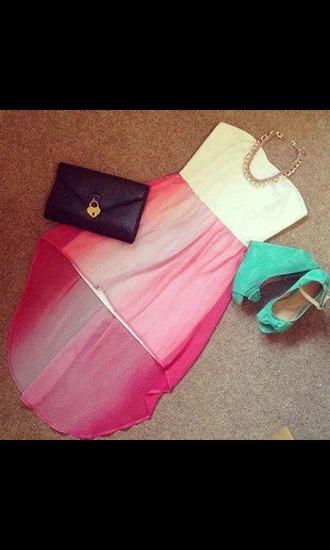 dress ombre dress high low dress bag shoes