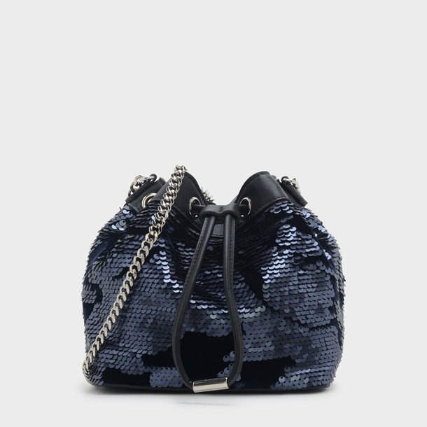embellished drawstring bag navy