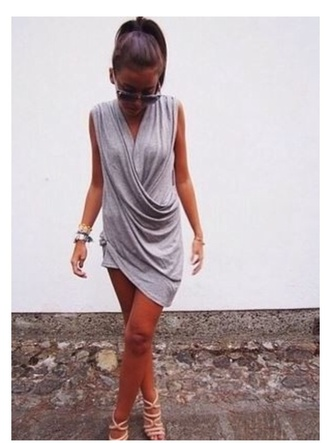 dress grey dress casual dress draped knit dress comfortable dress asymmetrical draped dress asymmetrical
