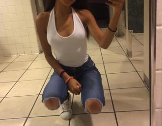 top halter neck halter top halterneck white top white stylish trendy ripped jeans skinny jeans white halter