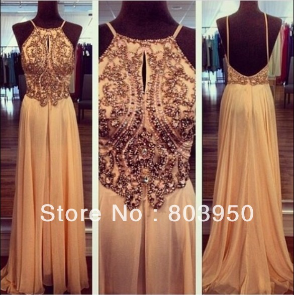 Real Made Sexy 2014 Scoop Spaghetti Strap Beading Chiffon A Ling Open V Back Long Evening Dresses Custom Made DYQ400-in Evening Dresses from Apparel & Accessories on Aliexpress.com