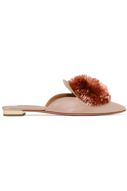 Aquazzura pastel embellished slippers pink satin pastel pink shoes
