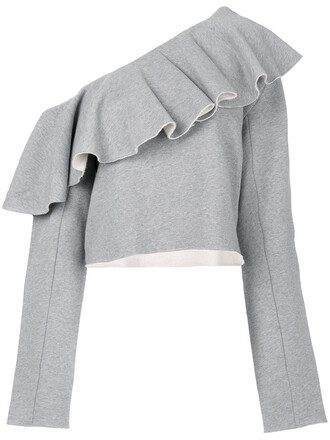 top off the shoulder women cotton grey
