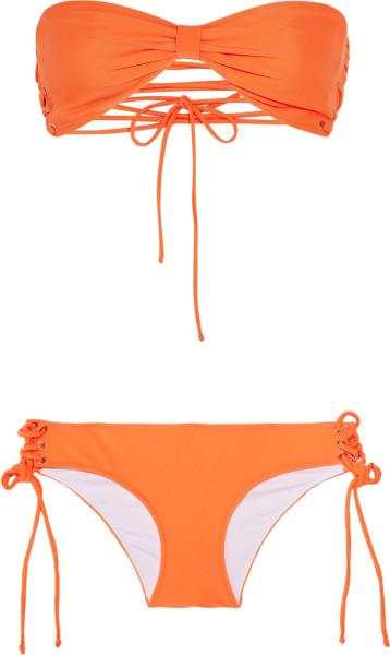 Shimmi Nicole Laceup Bandeau Bikini in Orange | Lyst