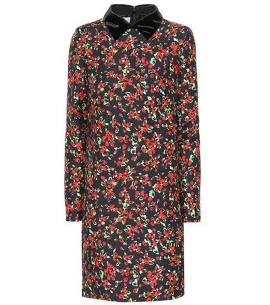 Valentino Silk and wool floral dress in black