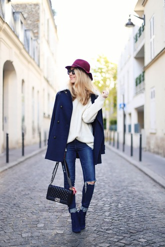 caroline louis pardonmyobsession blogger coat jeans sweater shoes hat bag dress felt hat blue coat winter outfits blue shoes ankle boots