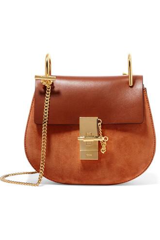 mini bag shoulder bag leather suede brown