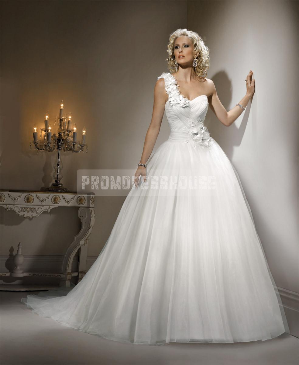 Ball gown tulle grecian court train ruching wedding dress