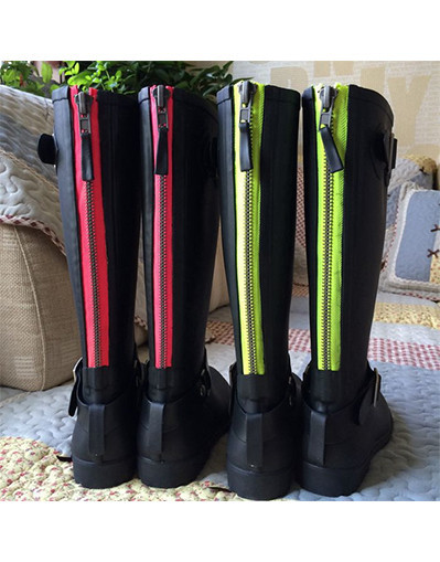 Rubber boots with neon zipper zip rain