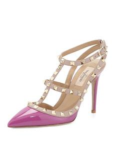 Valentino Rockstud Patent Sandal, Violet