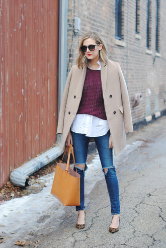 see jane blogger coat sweater shirt jeans shoes