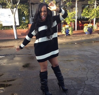 sweater white black black and white black and white sweater dress sweater dress hair boots black boots high heels heels oversized sweater curly hair long hair high heels boots make-up artist striped shirt striped sweater stripes striped dress booties black girls killin it african american sexy outfit style cute