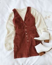 dress,brown dress,sweater,white sweater