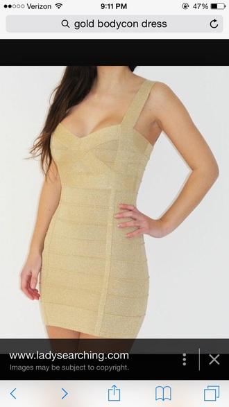 dress gold dress bodycon dress style fashion cute
