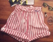 shorts,cute,old,pink,short,white,belt,tie,cute outfits,cute top,i need this help