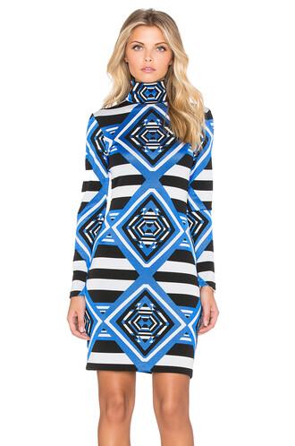 dress turtleneck dress mini blue
