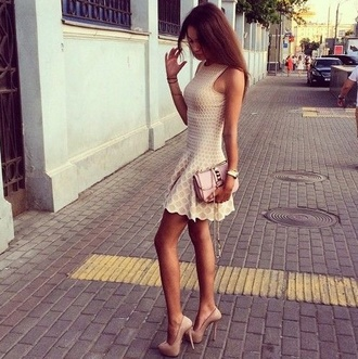 classy nude nude dress gorgeous beig brown dress dress clothers dress dress cut mini beige dress white tan heels grunge indie prep preppy hippie hipster pattern sundress tumblr beige