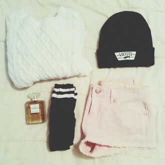 sweater black white pink beanie hat short vans chanel