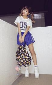 bag,backpack,black,shorts,shirt,shoes,kawaii,kawaii grunge,soft grunge,grunge,kawaii girl,japan,japanese fashion,streetstyle,fashion,style,t-shirt,blue,platform shoes,platform sneakers,floral backpack