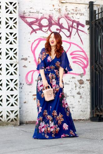 tf diaries blogger dress bag spring outfits blue dress floral maxi dress floral dress spring dress