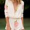 Beige long sleeve deep v neck floral playsuit -shein(sheinside)