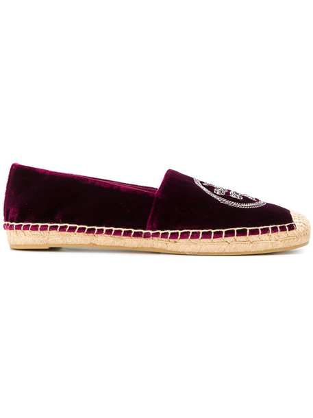 Tory Burch women espadrilles velvet red shoes