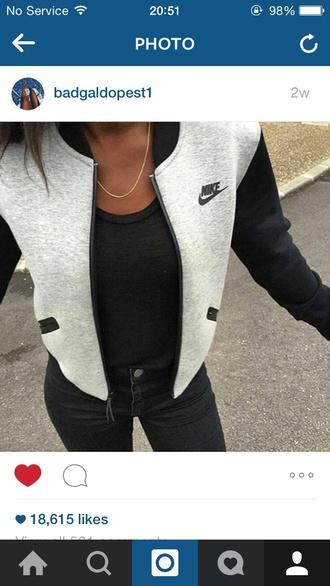 jacket nike black grey