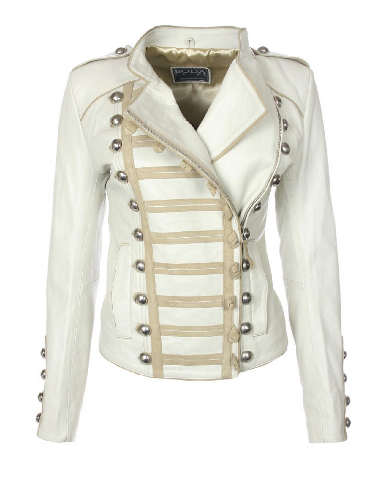 Napoleon Platinum Grey Leather Jacket - Boda Skins